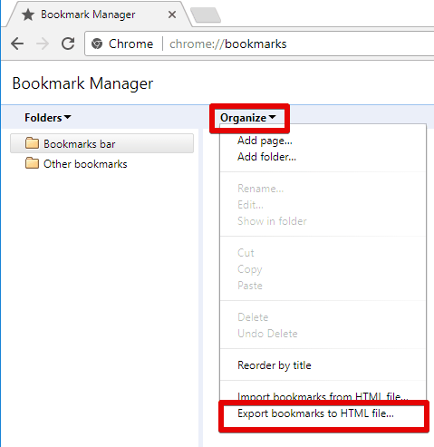 Export bookmarks Chrome