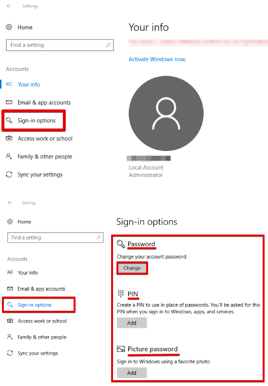 Windows 10 password change settings app