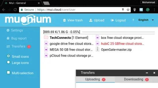 muonium 2 GB free cloud storage provider