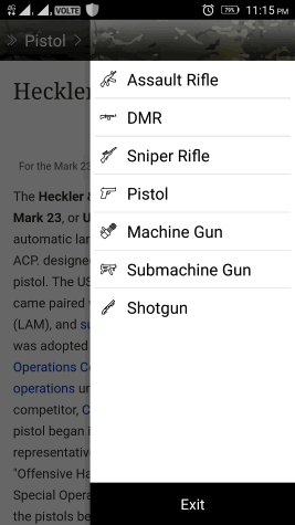 Gun Information App for Android to Know Gun Names and Facts