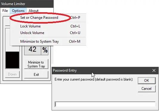 volume limiter set password protection to maximum volume level