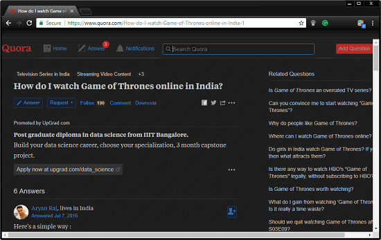 Quora specific answer in darm mode theme