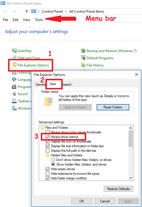 How to Enable Menu Bar in Windows 10