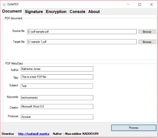 iSafePDF pdf metadata editor