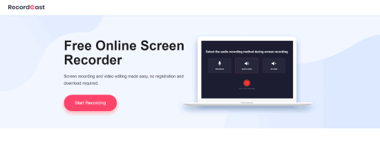 recordcast online computer screen recorder