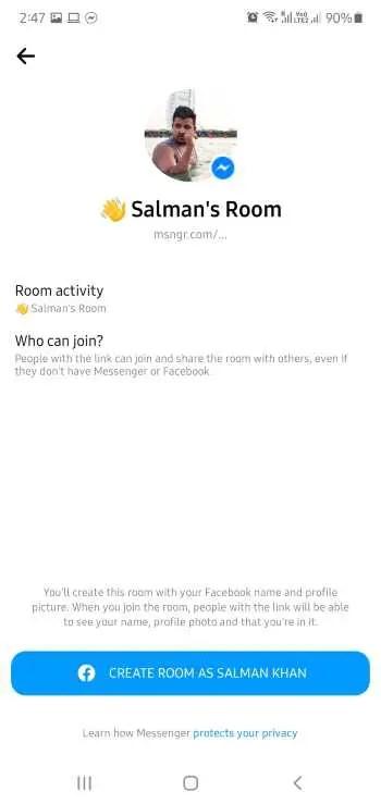 start a messenger room
