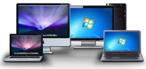 imac and macbook pro with windows desktop PC and windows laptop