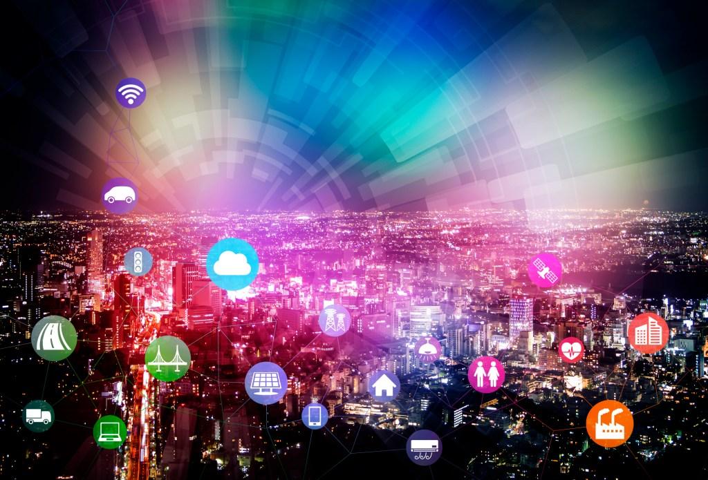 都市景観上クラウドで接続するモノのインターネット。