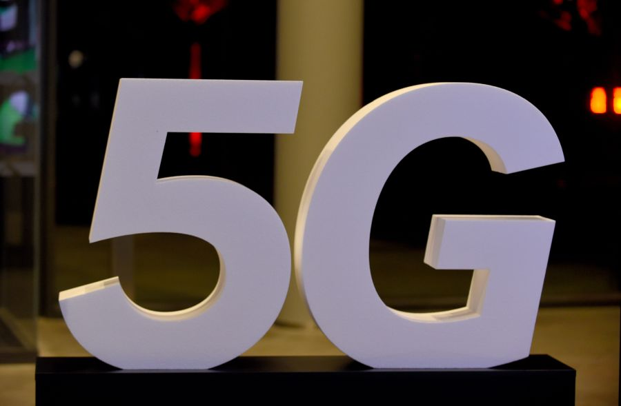 5g illustration taken during the inauguration of the Media group Altice' s Campus in Paris on October 9, 2018.