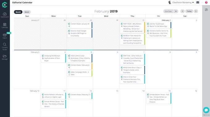 ClearVoice editorial calendar