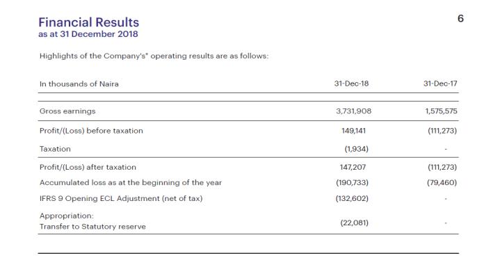 Carbon Financial Results 2018 Nigeria Fintech II