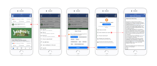 Flow of reporting mock up.png.rendition.992.992 {focus_keyword} UK Facebook users now have a tool to report scam ads Flow of reporting mock up