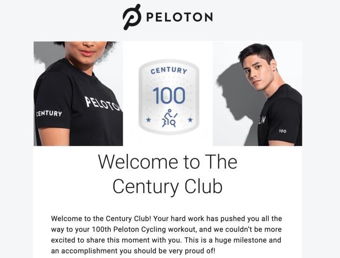 Peloton Century Membership Free Shirt