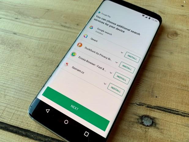 Google search choice screen