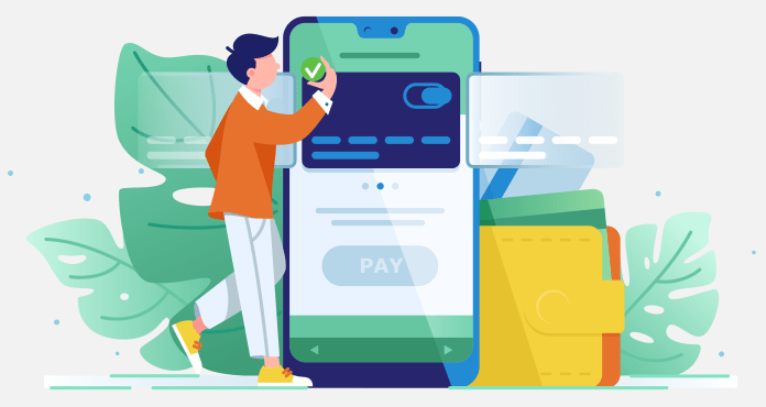 Young wealthy man pays card using mobile payment