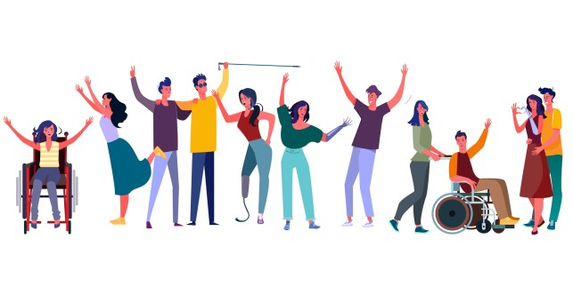 Illustration of a group of people with a variety of disabilities cheering