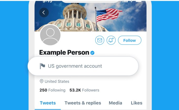 Twitter label screenshot