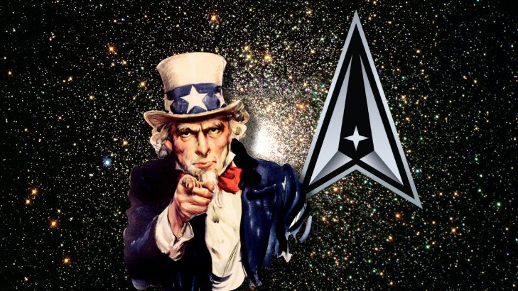 Image of Uncle Sam floating in space with the Space Force logo above his left shoulder.