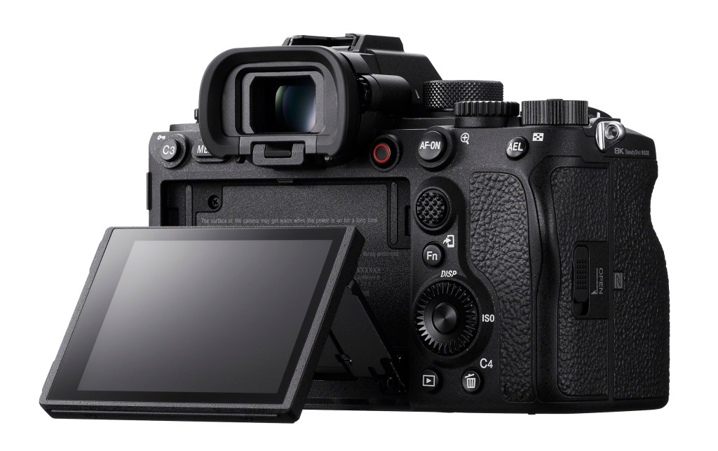 Rear view of the Sony Alpha 1 camera showing its screen and viewfinder.