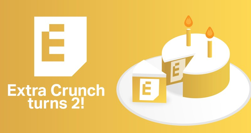 Extra Crunch turns two second anniversary image: a cake with two candles and the EC logo