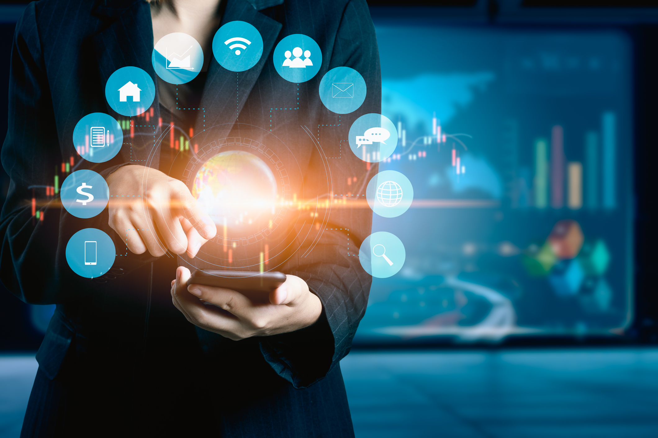 Businesswomen using mobile phone analyzing data and economic growth graph chart. Technology digital marketing and network connection.