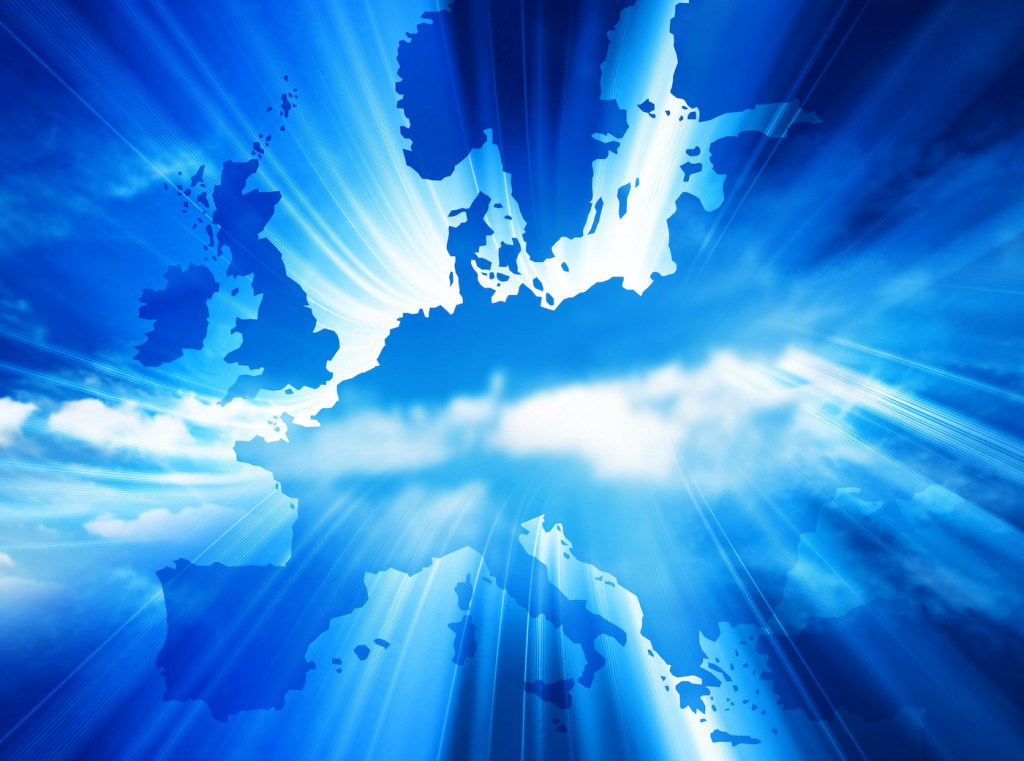 Map of Europe in blue with light shining through