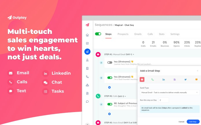 Screenshots of Outplay's sales engagement platform for automating sales tasks