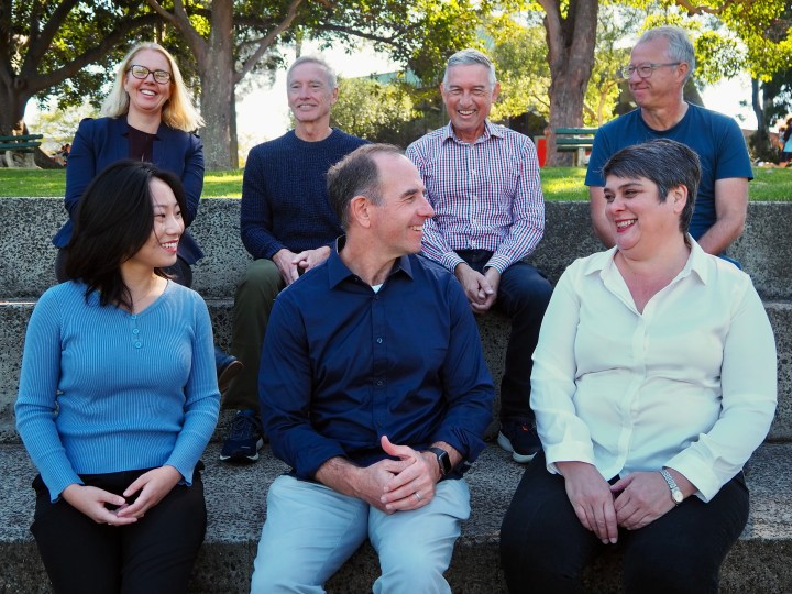 Main Sequence's team (top row from left to right) Viringa Crawter, Bill Bartee, Mike Nicholls, Phil Morle; (bottom row from left to right) Stella Xu, Mike Zimmerman and Jen Baxter