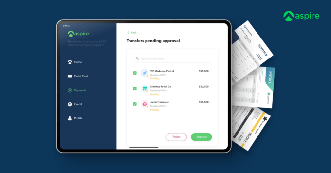 A composite image with screenshots of Aspire's new Bill Pay feature