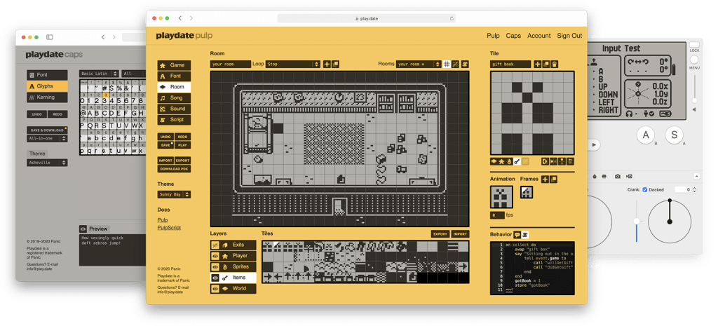 Screenshots of the Pulp game creation tool.