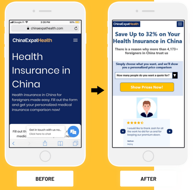 Before-and-after screenshots of the mobile version of ChinaExpatHealth after a marketing test.