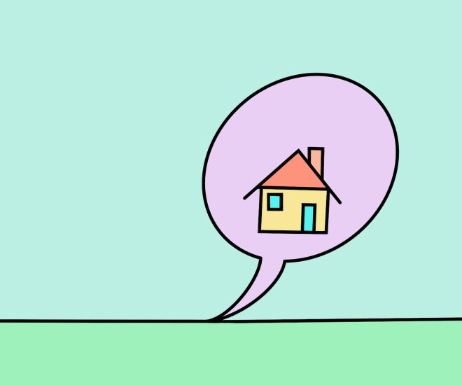 Speech bubble with home