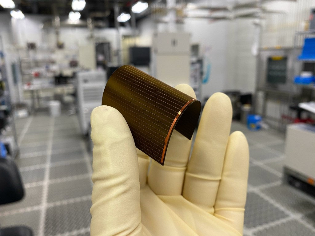 A Regher flexible silicon solar cell made with a 20-micron silicon substrate.