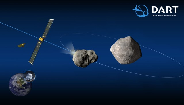 A CG render of the Dart spacecraft flying into Didymos' moonlight.