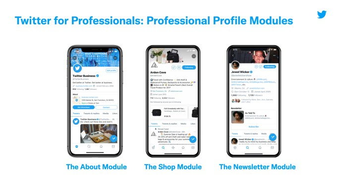 Professional Twitter accounts can add modules for shopping, their newsletter, or more info about their business.