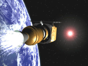 Third stage ignition, sending the Mars Climate Orbiter (MCO) to Mars in December, 1998
