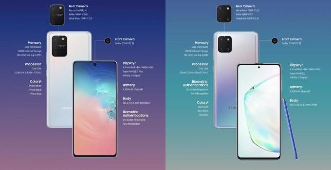 Samsung Galaxy S10 Lite and Samsung Galaxy Note 10 Lite