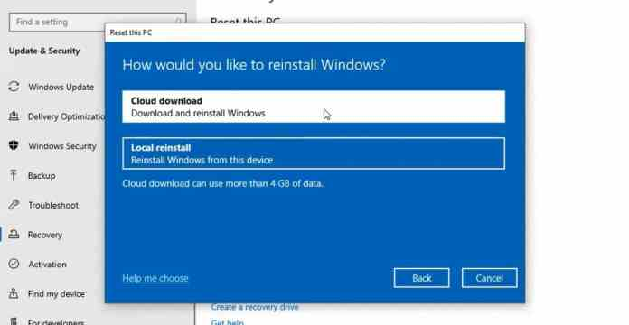 Cloud Download For Reinstallations - Windows 10 May 2020 Update (20H1)
