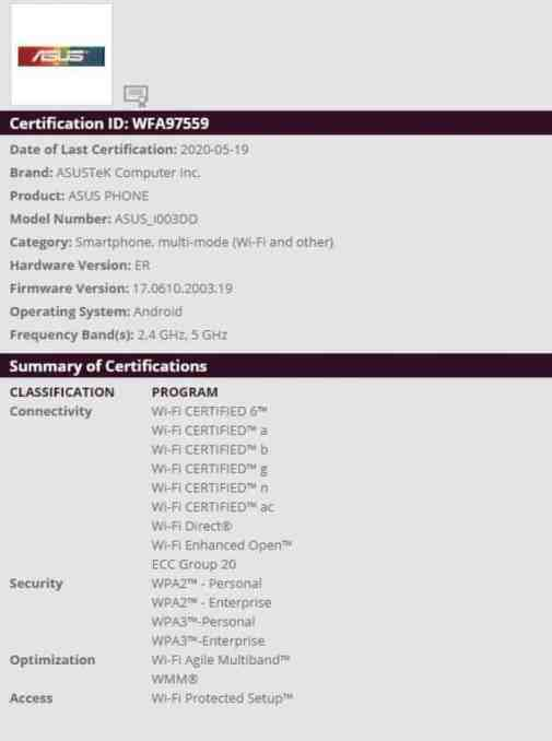 ASUS ROG Phone 3- WiFi Certification