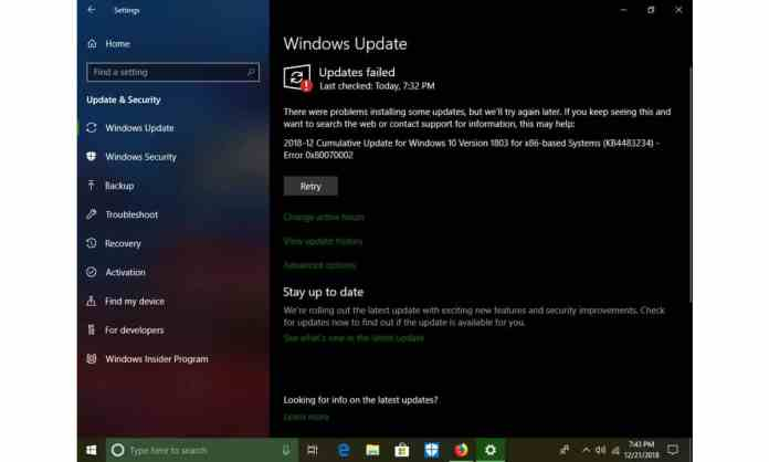 "Unable to install updates - ""7 Common Windows 10 Errors and How to Fix Them"""