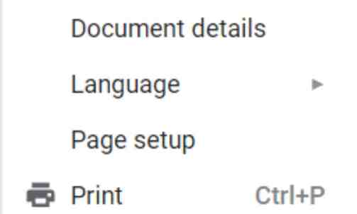 "Page Setup - ""Change margins in Google docs"""