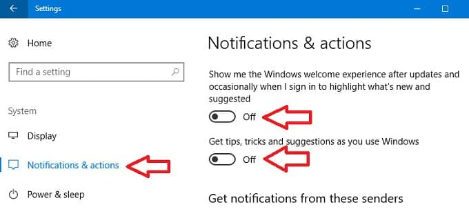Remove Activate Windows Watermark by disabling Windows 10 Tips