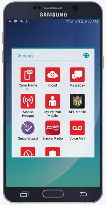 Galaxy Note 5 Verizon Apps framed