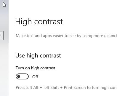 turn on high contrast setting windows 10