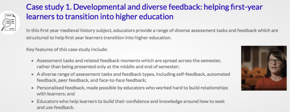 Screenshot from the Feedback for Learning website.