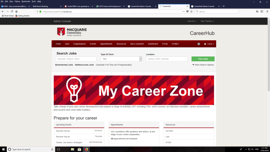 Screenshot of My Career Zone