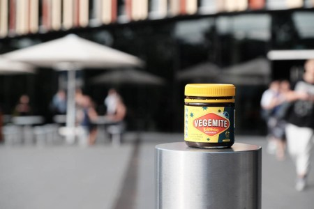 a jar of vegemite outside the library