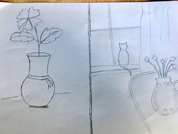 Flower in vase drawing