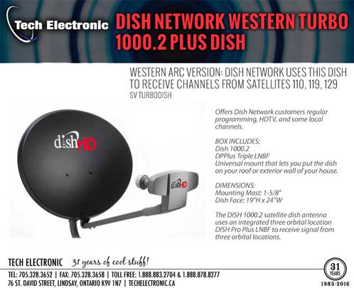 dish network western turbo 1000 2 plus dish-no price
