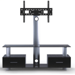 "32-55"" 2-Tier Stand with Built-in Mount & Drawers"